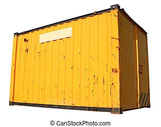 Un carguero amarillo, aislado en un fondo blanco.