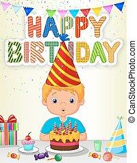 Un caricatura de niño que sopla cumpleaños