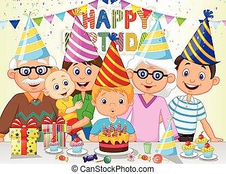 Un caricatura feliz de cumpleaños
