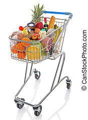 Un carrito de compras aislado en blanco