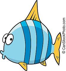 Un cartón aislado de peces rayados azules