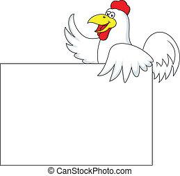 Un cartón de gallo con una señal en blanco