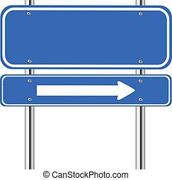 Un cartel de tráfico azul blanco con flecha blanca