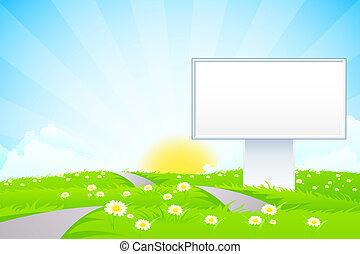 Un cartel vacío en la hierba
