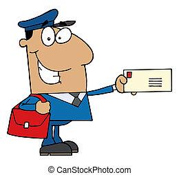 Un cartero hispano sosteniendo una carta