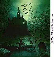 Un castillo espeluznante con un cementerio espeluznante abajo