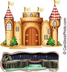 Un castillo y una cueva de dragones subterráneas