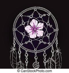 Un cazador de sueños adornado a mano con tierna flor rosa en un fondo negro. Ilustración de vectores.