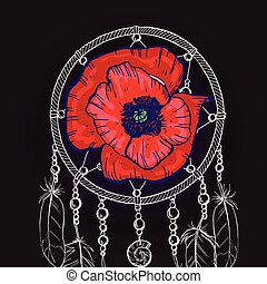 Un cazador de sueños adornado a mano con una flor de amapola roja en un fondo negro. Ilustración de vectores.