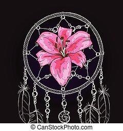 Un cazador de sueños adornado a mano con una flor de lirio rosa en un fondo negro. Ilustración de vectores.