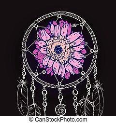 Un cazador de sueños adornado a mano con una flor de margarita rosa en un fondo negro. Ilustración de vectores.