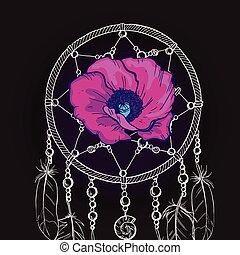 Un cazador de sueños adornado a mano con una hermosa flor púrpura en un fondo negro. Ilustración de vectores.