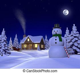 Un ceno navideño que muestra Snowman, Cabin y trineo de nieve por la noche