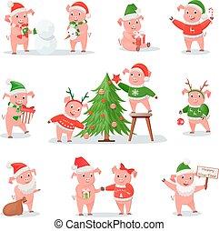 Un cerdo con sombrero de Navidad como símbolo de Año Nuevo 2019