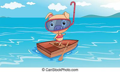 Un cerdo montando en un barco