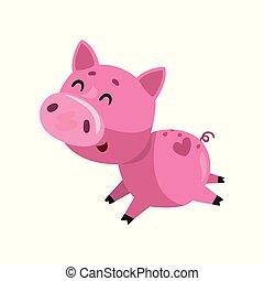 Un cerdo sonriente y rosa corriendo, un encantador vector de personaje de cerditos ilustrando un fondo blanco