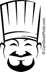 Un chef chino sonriente con barba de chivo