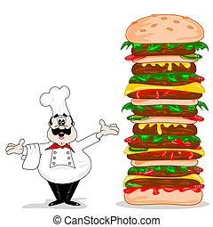Un chef de caricaturas con queso