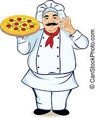 Un chef y pizza