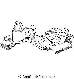 Un chico blanco y negro con libros