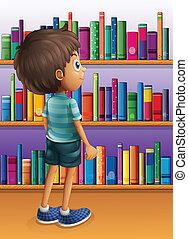 Un chico buscando un libro en la biblioteca