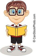 Un chico con gafas leyendo libros