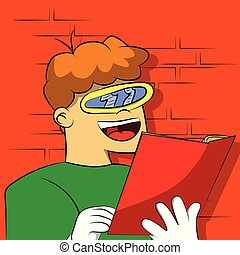 Un chico con un vidrio raro y futurista leyendo un libro.