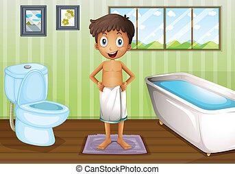 Un chico dentro del baño