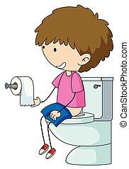 Un chico en el baño