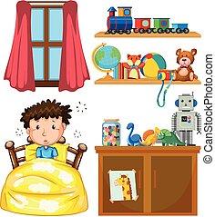 Un chico en el dormitorio
