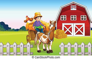 Un chico en la granja