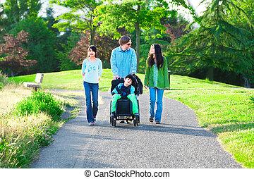 Un chico en silla de ruedas con familia al aire libre en Sunny