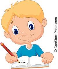 Un chico feliz escribiendo en un libro