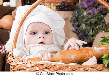 Un chico guapo como un chef sentado en la canasta