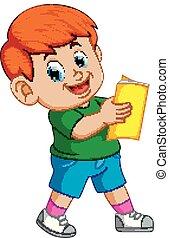 Un chico leyendo libros con una sonrisa