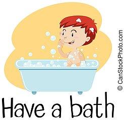 Un chico tomando un baño