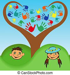 Un chico y una chica con cara bajo un árbol estilizado