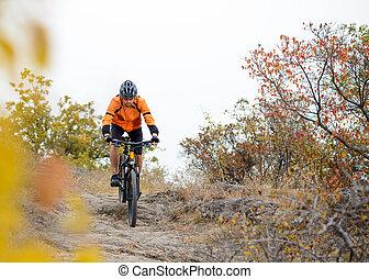 Un ciclista en bicicleta en el hermoso sendero de la montaña otoñal