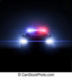 Un coche de policía con un conjunto completo de luces. Ilustración del vector