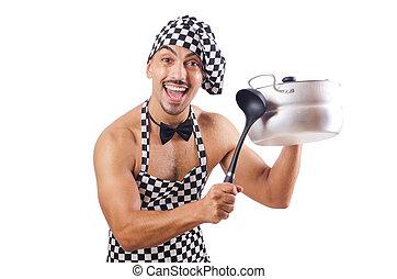 Un cocinero masculino sexy aislado en el blanco
