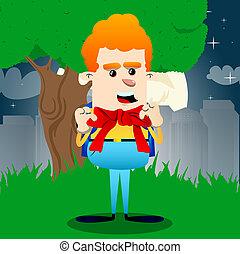 Un colegial con una gran corbata roja. Una ilustración de personajes de dibujos animados.