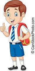 Un colegial feliz de dibujos animados con un pulgar arriba
