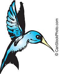 Un colibrí azul