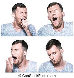 Un collage de expresiones de cara cansada y somnolienta