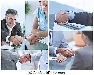 Un collage de fotos mostrando gente de negocios