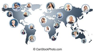 Un collage de gente de negocios hablando por teléfono