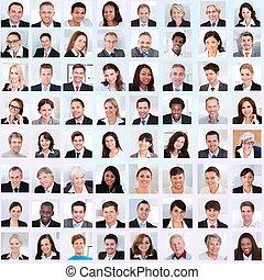 Un collage de gente de negocios sonriendo