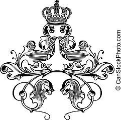 Un color de elegantes curvas de la corona real