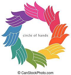 Un colorido círculo diverso de manos