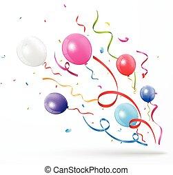 Un colorido confeti con globos sobre fondo blanco